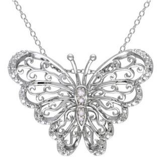 0.05 CT.T.W. Diamond Butterfly Pendant Sterling Silver Necklace