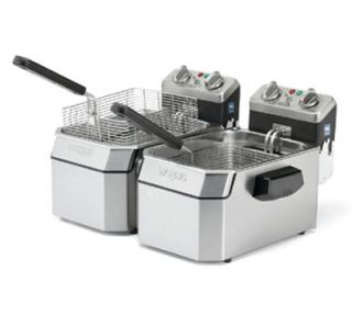 Waring Countertop Double Deep Fryer w/ 10 lb Capacity Each & 6 Baskets, Timer, 120V