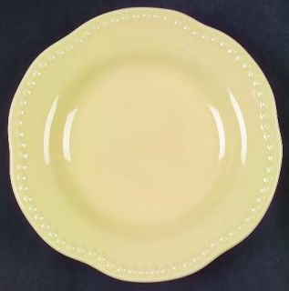 Pottery Barn Emma Yellow Salad Plate, Fine China Dinnerware   All Yellow,Beaded