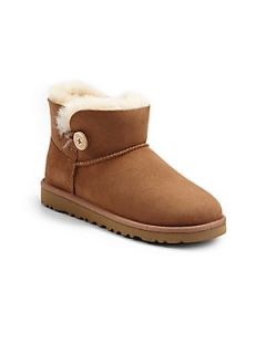 UGG Australia Kids Mini Bailey Button Boots   Chestnut