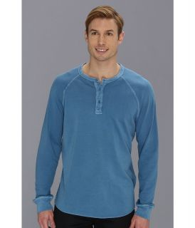 Lucky Brand Double Knit Henley Mens T Shirt (Blue)