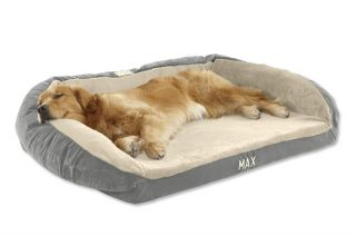 Faux fur Deep Dish Dog Bed With Memory Foam / Small Dogs 15 40 Lbs., Blue Mist,