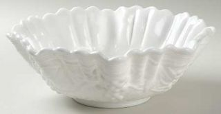 Imperial Glass Ohio Vintage Grape Milk Glass Crimped Round Bowl   Milk Glass,Gra
