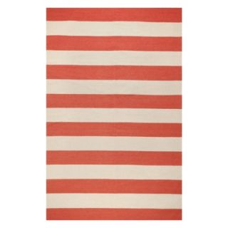 Rugby Stripe Flat Weave Area Rug   Red (5x8)