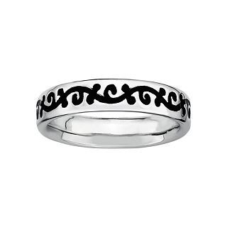 ONLINE ONLY   Sterling Silver Black Enamel Vine Ring, Black/White, Womens