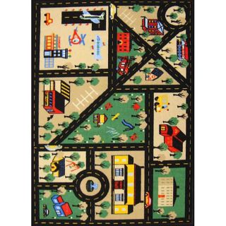 Kids Non skid Town Roads Rug (33 X 47) (NylonPile Height 0.2 inchesStyle CasualPrimary color BlackSecondary colors Tan/ greenPattern Baby/Kids/TweenTip We recommend the use of a non skid pad to keep the rug in place on smooth surfaces.All rug sizes