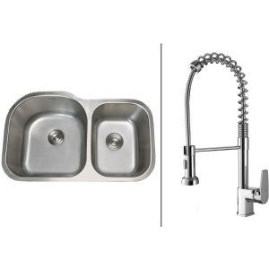 Ruvati RVC1531 Combo Stainless Steel Kitchen Sink and Chrome Faucet Set