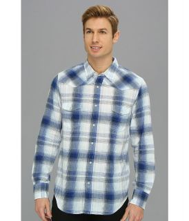Lucky Brand Bone Blue Plaid Western Mens Long Sleeve Button Up (Blue)