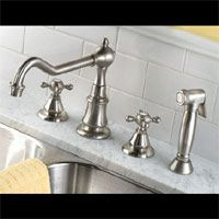 Mico 7761 PN Fia Two Handle Widespread Kitchen Faucet with Side Spray