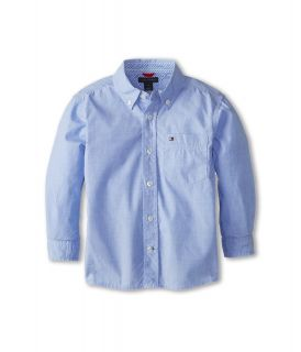Tommy Hilfiger Kids Vineyard End On End Shirt Boys Long Sleeve Button Up (Blue)
