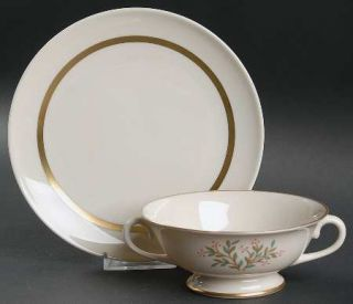Franciscan Fremont (Gold Trim) Footed Cream Soup Bowl & Saucer Set, Fine China D