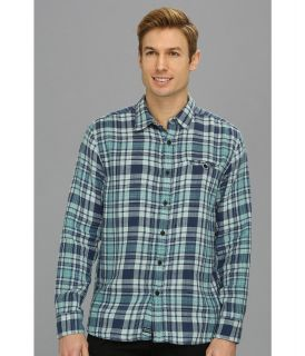 Lucky Brand Barracuda Plaid 1 Pocket Mens Long Sleeve Button Up (Blue)