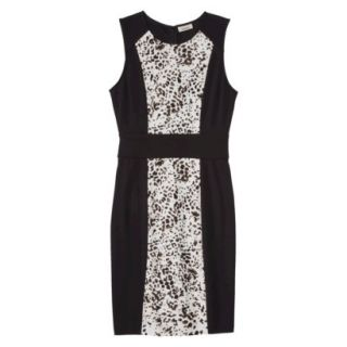 AMBAR Womens Ponte Leopard Print Dress   Ebony XL