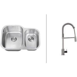 Ruvati RVC2541 Combo Stainless Steel Kitchen Sink and Chrome Faucet Set