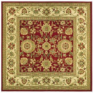 Lyndhurst Collection Majestic Red/ Ivory Rug (6 Square)