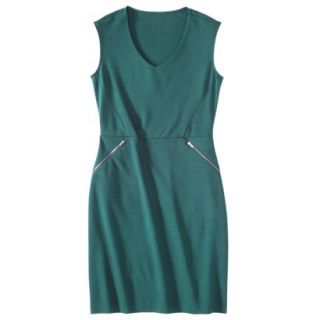 Mossimo Womens Ponte Sleeveless Dress w/ Zippered Pockets   Seaside Teal XL