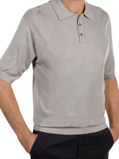 Paul Fredrick Mens Silk Diamond Pattern Polo Collar Short Sleeve Sweater