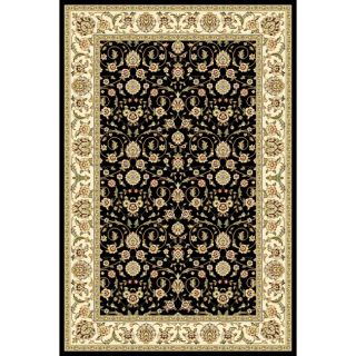 Lyndhurst Collection Traditional Black/ Ivory Runner Rug (4 X 6)