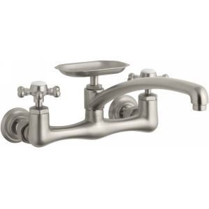 Kohler K 159 3 BN Antique Two Handle Wall Mount Faucet with Soap Dish