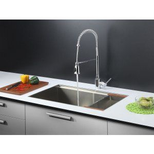 Ruvati RVC2376 Combo Stainless Steel Kitchen Sink and Chrome Faucet Set