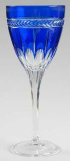 Wedgwood Anthemion Blue Wine Glass   Prestige,Cobalt Blue/Clear,Laurel Band