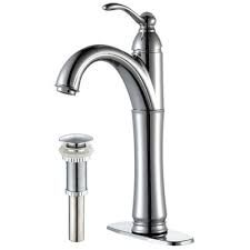 Kraus FVS1005PU10CH Bathroom Faucet, Riviera Single Lever Vessel Faucet w/ Matching Pop Up Drain Chrome