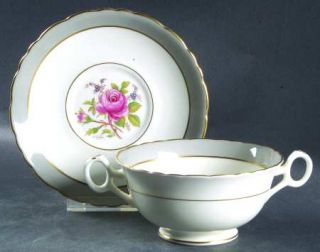 Royal Cauldon Miniver Rose Footed Cream Soup Bowl & Saucer Set, Fine China Dinne