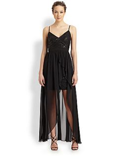 Aidan Mattox Hi Lo Chiffon Overlay Dress   Black