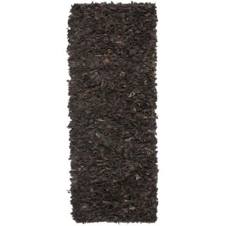 Safavieh Leather Shag Dark Brown Rug LSG421D Rug Size Runner 23 x 6