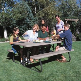 Lifetime Products 6 ft. Folding Putty Picnic Table Multicolor   22119