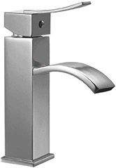 Alfi Brand AB1258PC Bathroom Faucet, Square Body Curved Spout Single Handle Polished Chrome