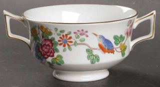 Wedgwood Cuckoo (Gold Trim) Footed Cream Soup Bowl, Fine China Dinnerware   Will
