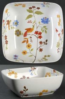 222 Fifth (PTS) Bird Delight White 9 Square Serving Bowl, Fine China Dinnerware