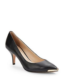 Iliah Lacquered Point Toe Leather Pumps