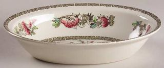 Johnson Brothers Indian Tree (Green Key, Cream) 9 Oval Vegetable Bowl, Fine Chi
