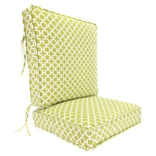 Outdoor Deep Seat & Back Chair Cushion   Green/White Geometric