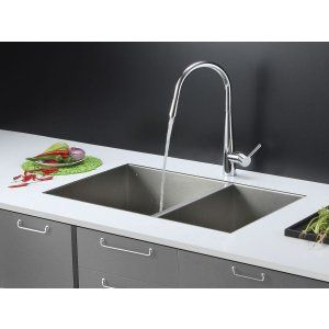 Ruvati RVC2612 Combo Stainless Steel Kitchen Sink and Chrome Faucet Set
