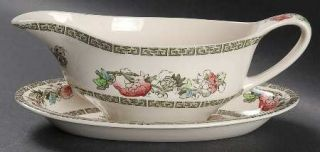 Johnson Brothers Indian Tree (Green Key, Cream) Gravy Boat & Underplate (Relish)