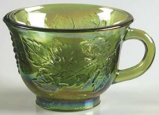 Indiana Glass Princess Green Carnival Punch Cup   Green Embossed Grapes And Leav
