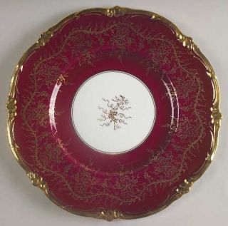 Royal Cauldon KingS Plate Cranberry Dinner Plate, Fine China Dinnerware   Gold