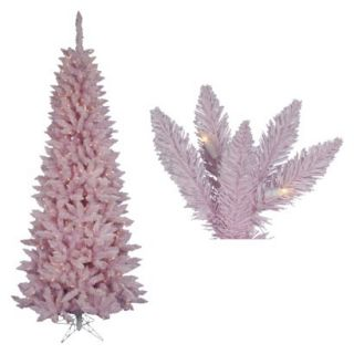 9 Pre Lit Pink Flocked Spruce Tree   Clear Lights