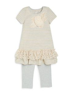 Toddlers & Little Girls Striped Lace Trim Tunic & Leggings Set