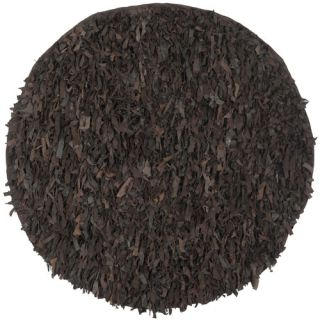 Safavieh Leather Shag Dark Brown Rug LSG421D Rug Size Round 4