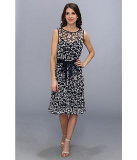 Jessica Howard Sleeveless Pintuck Dress With Sash Belt Womens Dress (Blue)