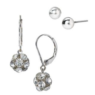 Clear Round Fireball Crystal Earring Duo   Silver