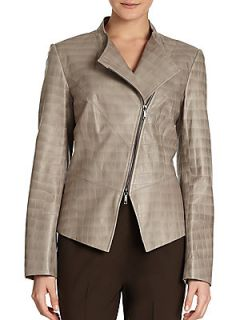 Croc Embossed Leather Jacket   Lead