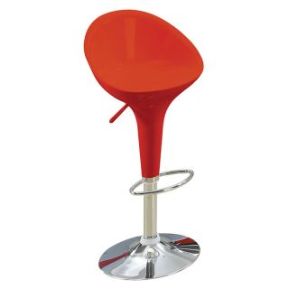 Sybill Adjustable Red Chrome Finish Air Lift Stools (set Of 2) (Red Materials ABS seat and back, metalFinish Chrome Adjustable Air lift stoolDimensions 36 inches high x 18.5 inches wide x 20 inches deep )