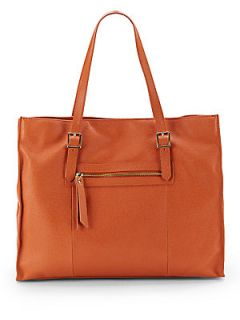 Large Saffiano Leather Tote Bag   Orange