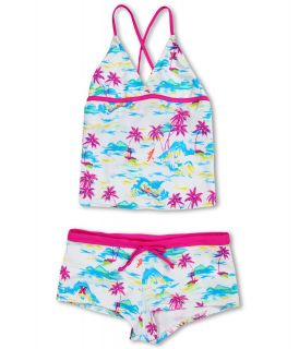 Hurley Kids Flamo Tankini Boyshort Girls Swimwear Sets (White)