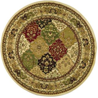 Lyndhurst Collection Multicolor/ Ivory Rug (8 Round)